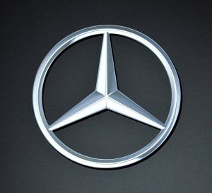 The logo for Mercedes-Benz is displayed at the Chicago Auto Show at McCormick Place in Chicago on February 9, 2011.    UPI/Brian Kersey